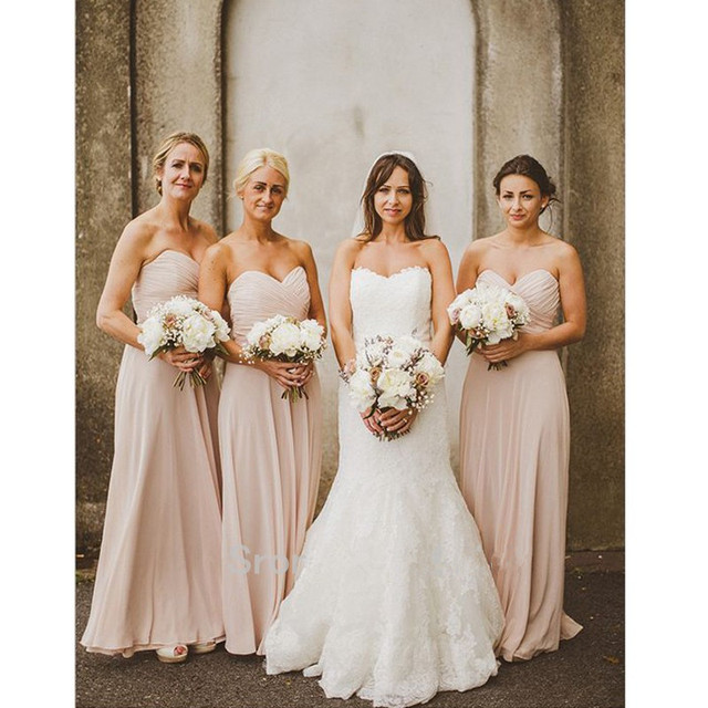 Strapless Bridesmaid Dress Nude Pink Sweetheart Neck Maid Of Honor