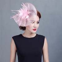 ShanFu Elegant Pink Large Flower Feather Wedding Hat Charming Sinamay Fascinators Hair Bands for Women Fashion Headpiece