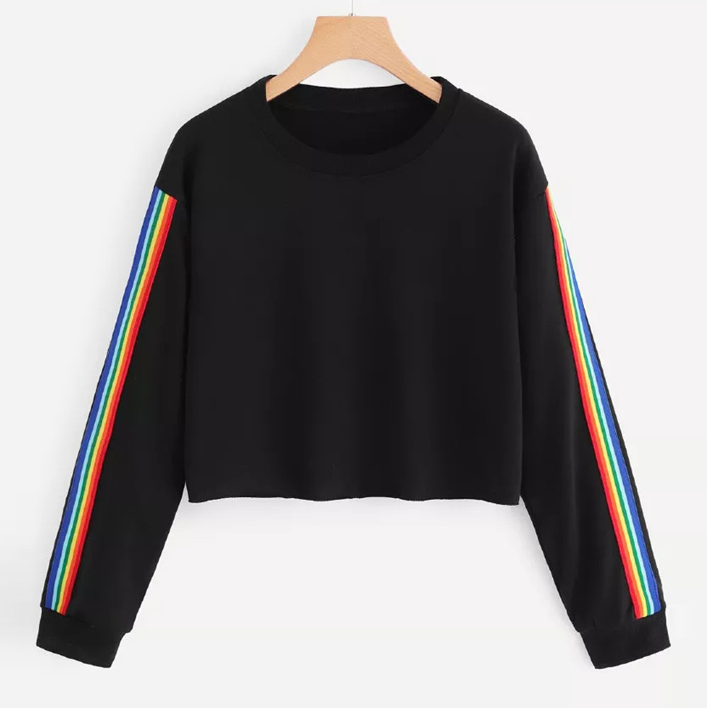 Sweatshirts Women Long Sleeve Rainbow Patchwork O Neck Sweatshirt Casual Pullover Top Women Sweatshirts sep14