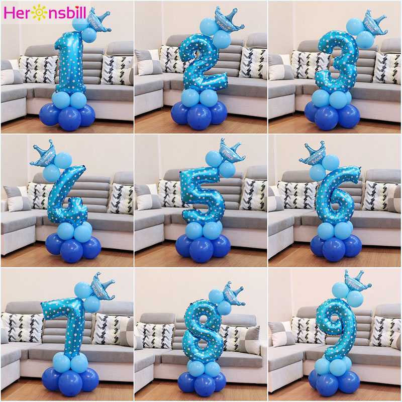 Heronsbill 1st 1 2 3 4 5 6 7 8 9 Years Happy Birthday Foil Number Balloons Baby Boy Girl Party Decorations Kids Supplies 2nd 3rd-in Ballons & Accessories from Home & Garden