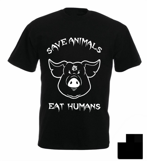 674112fe81e82 Save Animals Eat Humans Vegan Unisex T-Shirt Angry Pig Activist Veganism  Anarchy Quality T Shirts Men Printing Short Sleeve