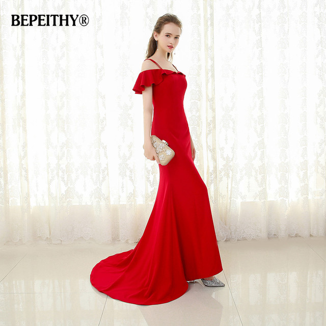 BEPEITHY 2019 Mermaid Long Evening Dress Spaghetti Straps Vestido De Festa Sweep Train Vintage Prom Party Gowns