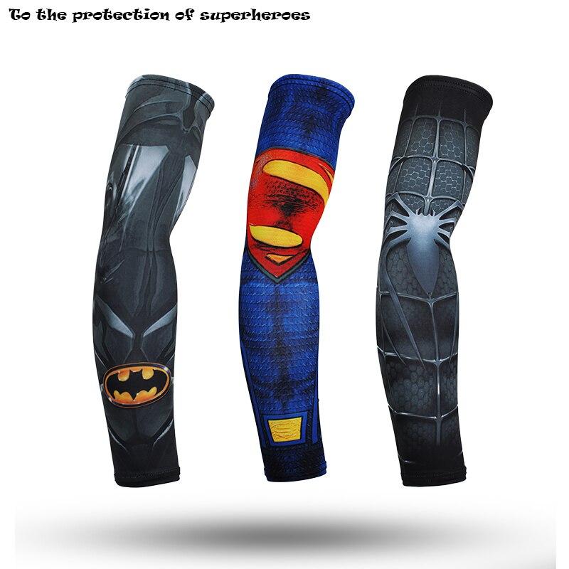 2018 Avengers Superhero Captain America Cuff Spider Batman Superman Arm Warmers Quick Dry 3d Print Unisex Workout Arm Sleeves