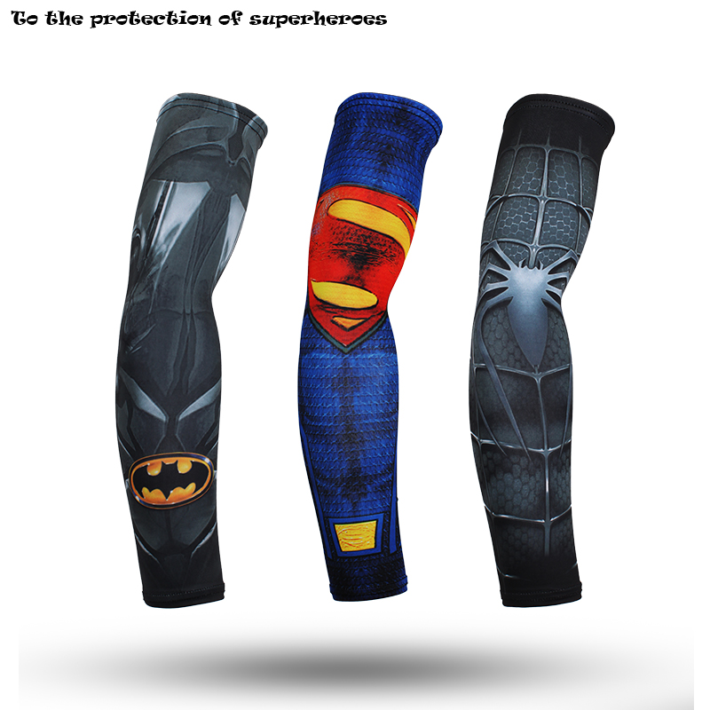 2018 Avengers Superhero Kapitän Amerika Manschette Spinne Batman Superman Arm Wärmer Quick Dry 3d Drucken Unisex Workout Arm Ärmeln