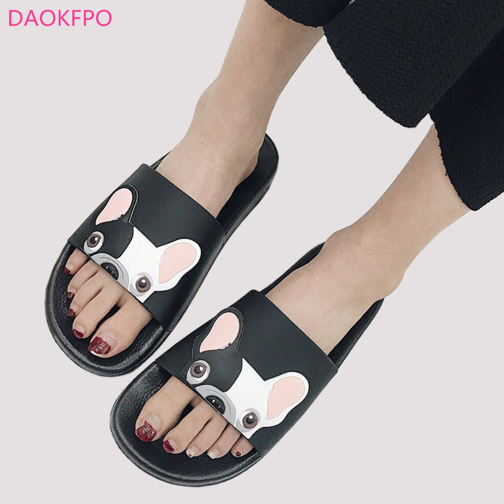 2018 Fashion Animal Bulldog Slippers Zomer Sandalen Strand Flip Flops - Damesschoenen - Foto 1