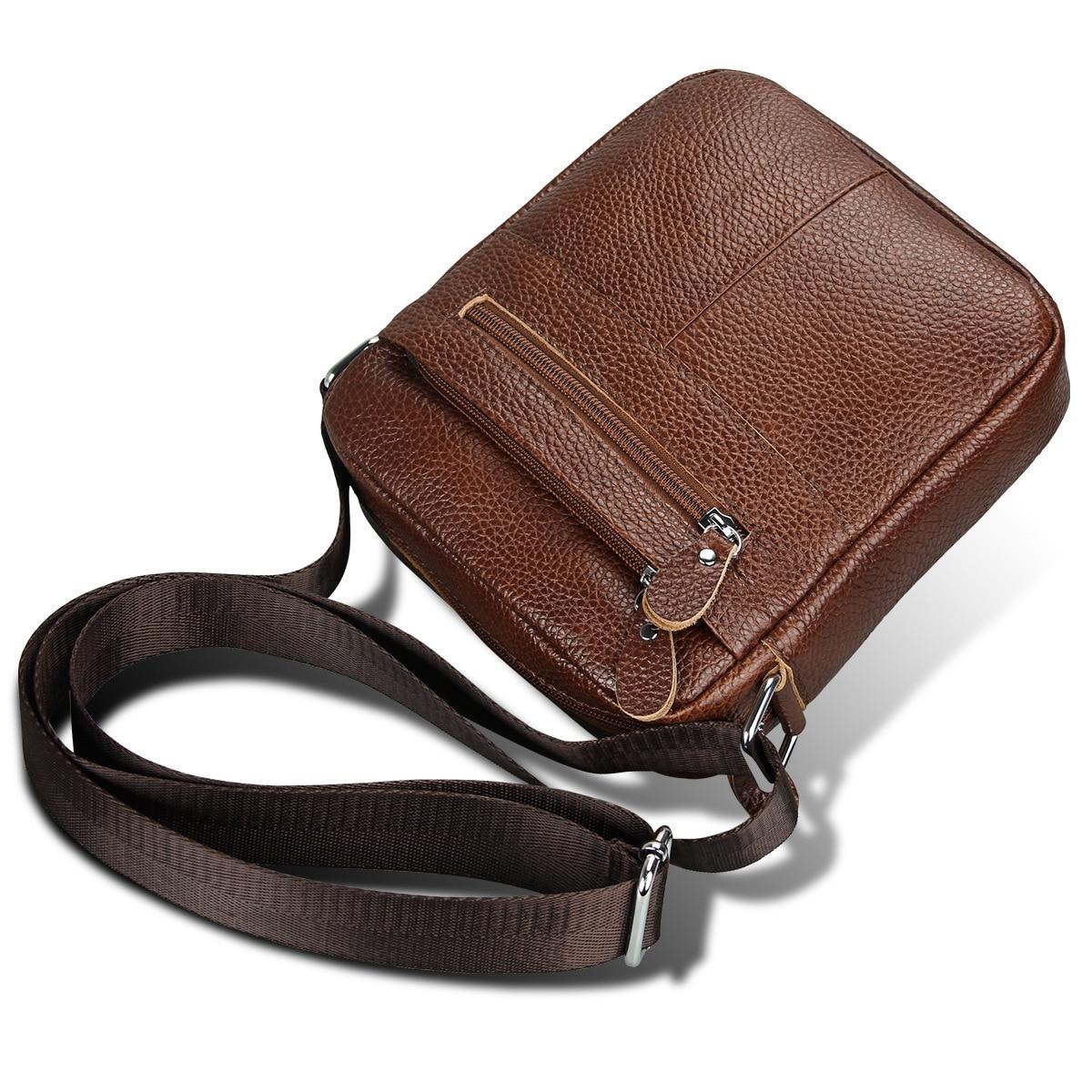 2018 New Luxury Brand Men Handbags Genuine Leather Male Shoulder Bag Fashion Crossbody Bag Boy Casual Messenger Bags 22*19*6cm