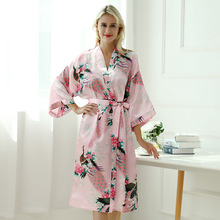 sexy mousse sleepwear plus size women bath satin robe dressing gown bride long floral white red black young girl