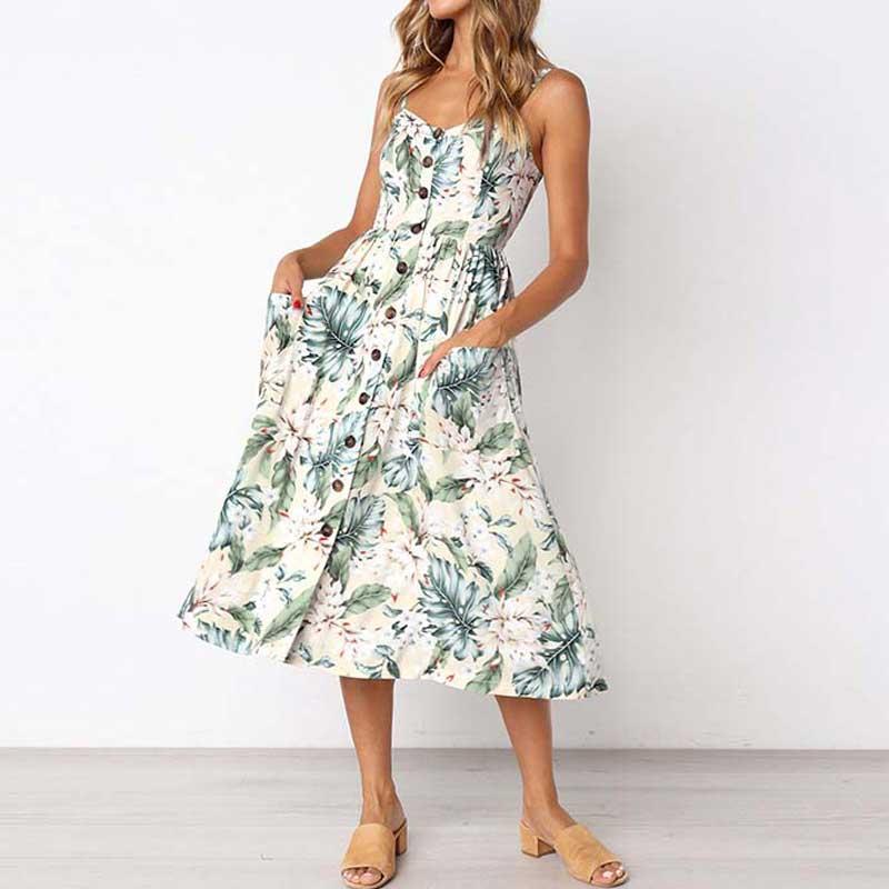 2019 Summer Beach Dress Woman Dress Plus Size Women Midi Floral Sunflower  Dress Striped Ladies Backless Party Dress Female 3XL