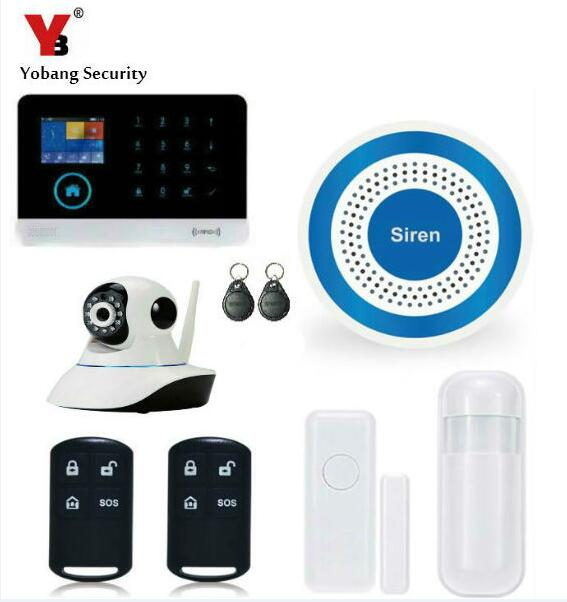 Yobang Security 2.4 inch Display IOS Android APP Control WCDMA/CDMA 3G WIFI Alarm System HD IP Camera Surveillance Blue Siren