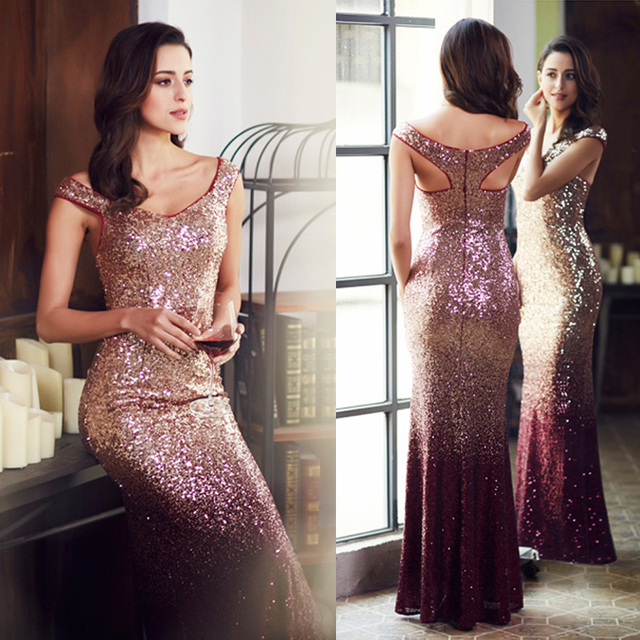 Long sparkly bardot burgundy sequin dress