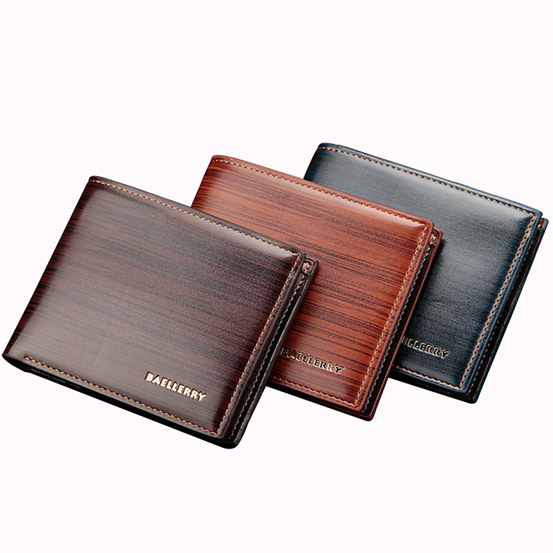 New Brand Baellerry Casual Men Short Wallet Money Cash Coin Purse PU Leather Business Billfold Pocket Credit Card Holder Cover brand short leather men wallet new design casual money wallets coin pouch 2 folds card