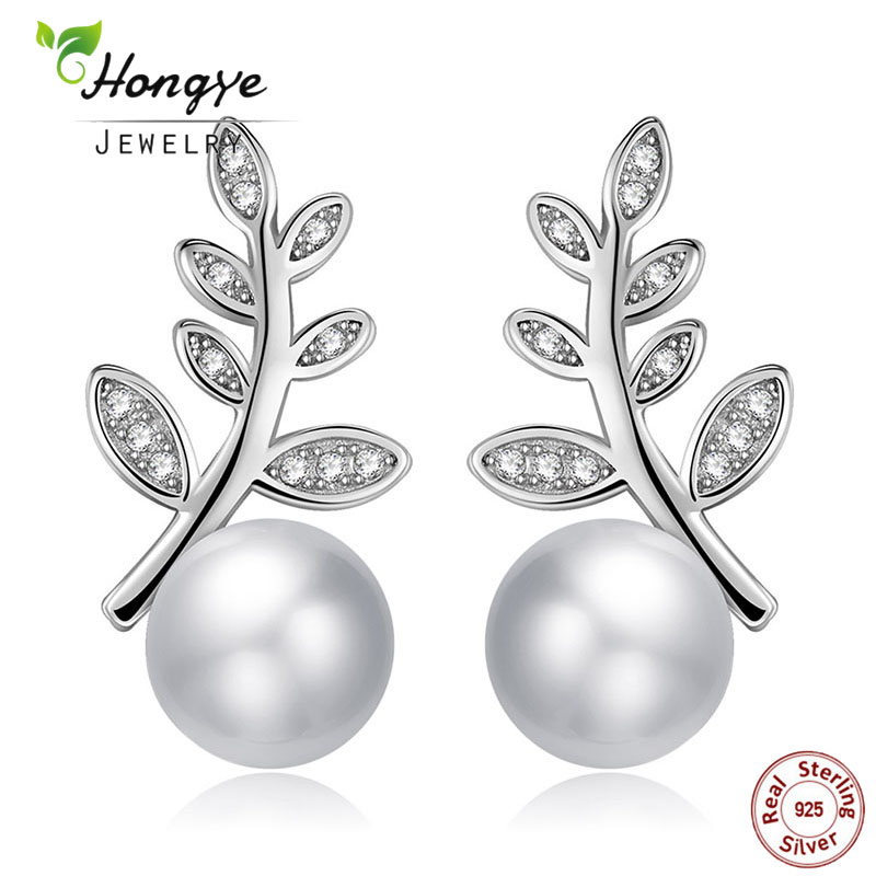 Hongye White Freshwater Pearl Jewelry 925 Sterling Silver Natural Pearl Leaves Round Shiny Drop Earring For Women Lady Best Gift