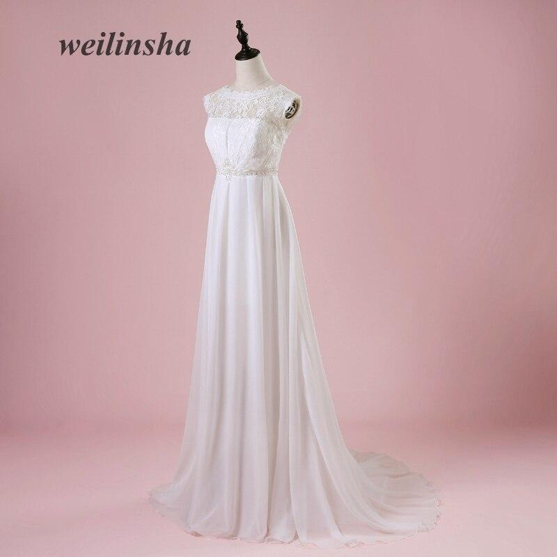 Weilinsha Cheap Chiffon Beach Wedding Dress 2019 Scoop A Line Summer Bridal Gowns Vestido de Noiva Pregnant Wedding Dresses-in Wedding Dresses from Weddings & Events    3