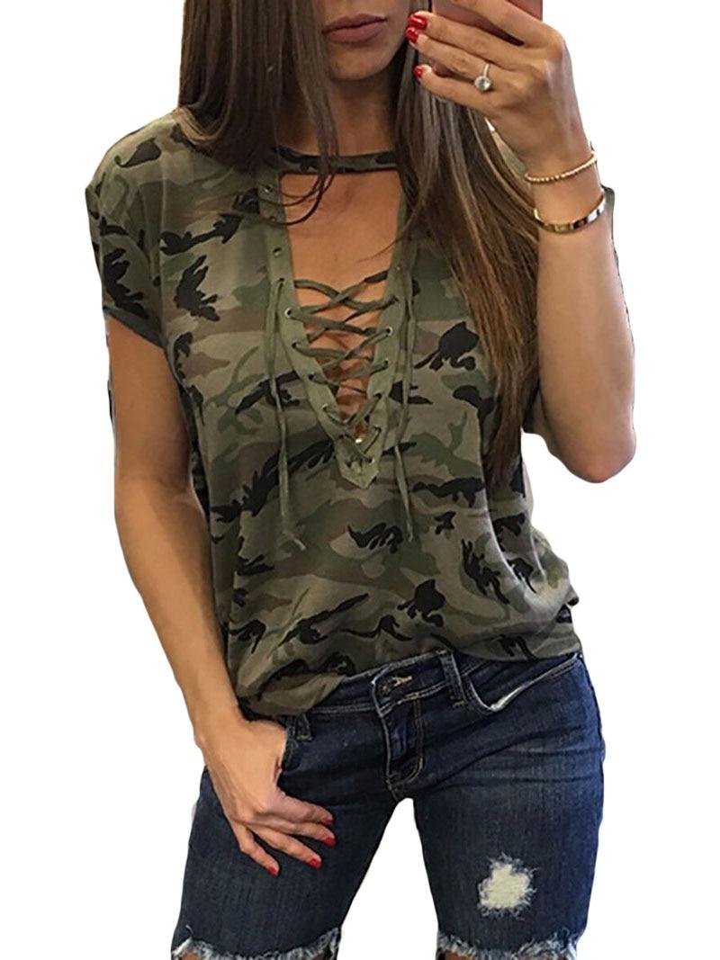 Новые модные женские туфли женские короткий рукав Камуфляж Свободные Блузки Лето Кружево до Повседневное Блузки для малышек Рубашки для мальчиков Топы корректирующие