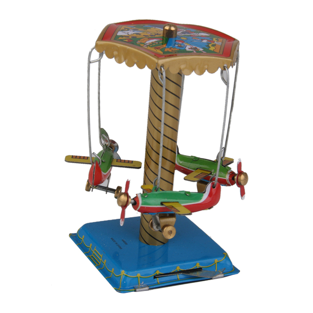 Miniature Dollhouse Accessory Plane Carousel Wind Up Tin Toy Collectible Gift or Doll House Decoration for Adult Kid Children