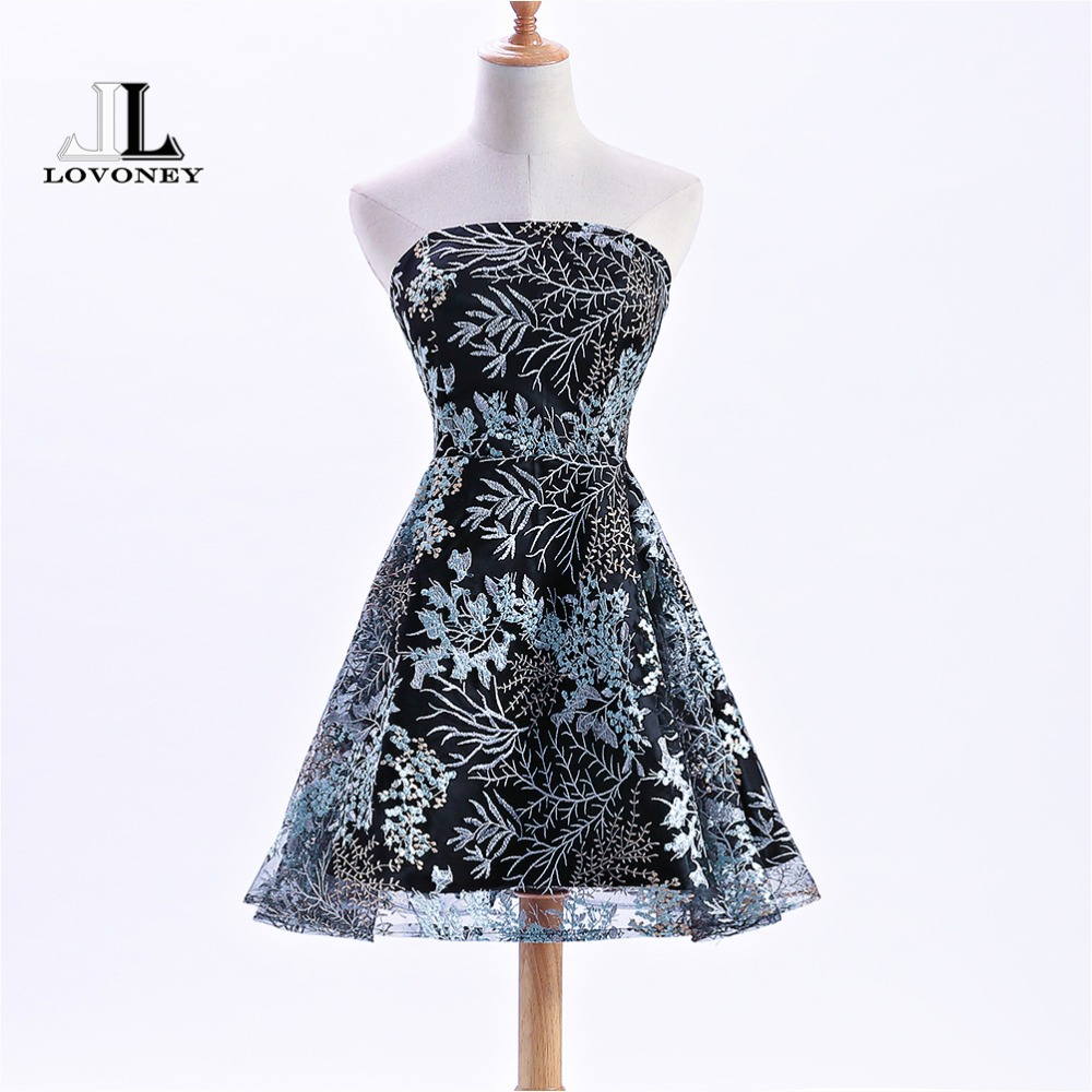 LOVONEY XYG813 Elegant Embroidery Prom Dresses 2018 Short Women Occasion Party Dresses Formal Dress Prom Gown