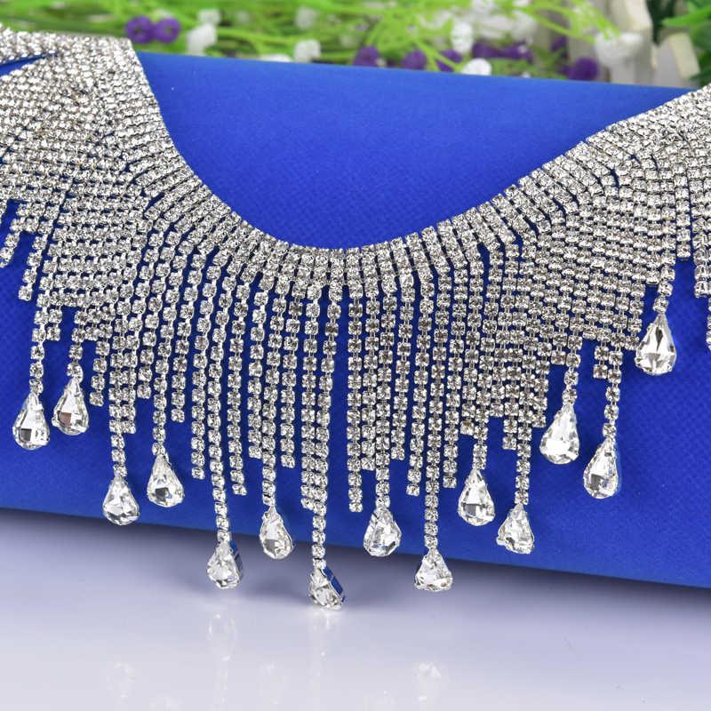 High Quality Rhinestone Chain Strass Crystal Teardrop Clear Tassel Necklace Trim  Wedding Decoration Sew On Clothing 67da090550f7