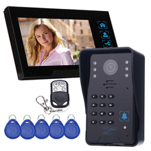 Touch Key Дверные Системы Контроля Доступа 7 «ЖК-Проводной Видеодомофон Дверной Звонок Домофон ИК-Камеры + 5 Шт. Ключи Дистанционного Управления Разблокировки