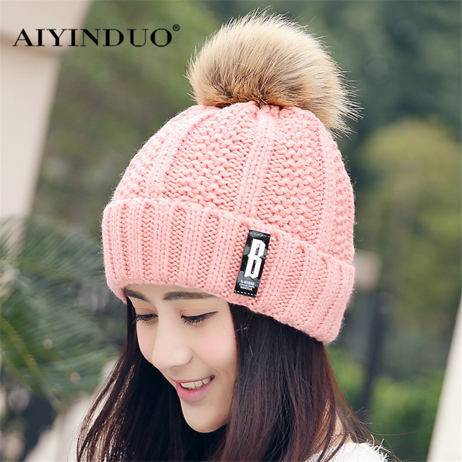 Skullies Beanies Winter Woman Fashion Knitting Hats with pompom Beanies Girls Warm Letter B Cap [swgool] skullies