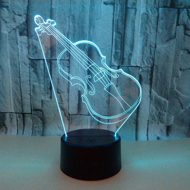 Скрипка Гитара 3d свет сенсорный дистанционный переключатель 3d настольные лампы для гостиной фонарь-ночник 7 цветов Изменение детской комнаты настольная лампа