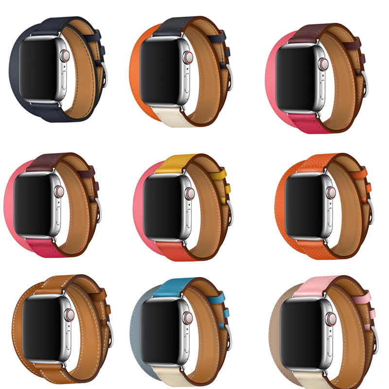 Series 4 3 2 1 Longer real Leather Strap For Apple Watch band Wristband Double Tour link Bracelet Leather 38mm 42mm 40mm 44mm in Watchbands from Watches