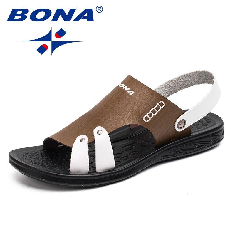 BONA New Fashion Style Men Sandals Slip On Men Summer Shoes Microfiber Men Beach Slipper Shoes Comfortable Fast Free Shipping