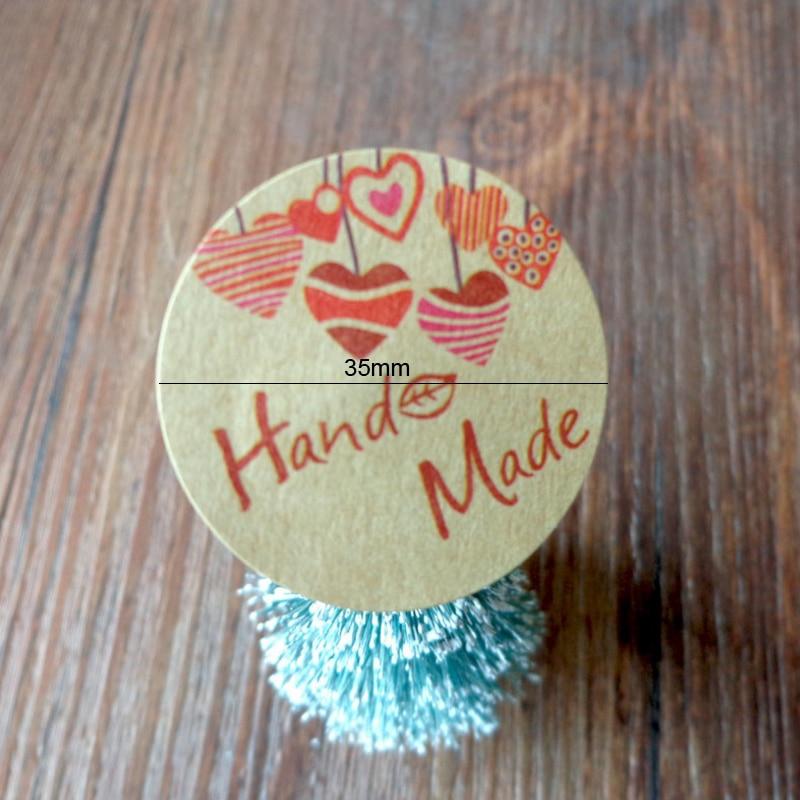 Купить с кэшбэком 120pcs/lot  Hand Made love  Star Pink Round Self-adhesive sealing  Label Stickers Gift Bag Candy Box Decorate