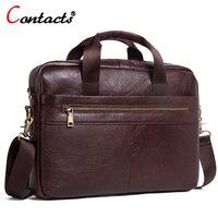CONTACT S Men Messenger Bag Genuine Leather Male Shoulder Crossbody Bag Designer Dollar Price Business Briefcase
