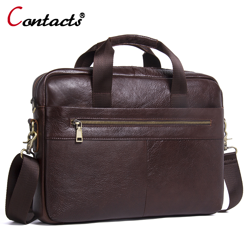 CONTACT'S Genuine Leather Men Shoulder Bags messenger bag Handbag Large Capacity Male Handbags Briefcases Laptop Crossbody Bags augus 100% genuine leather laptop bag fashional and classic crossbody bags leather for men large capacity leather bag 7185a