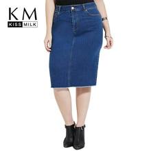Kissmilk Plus Size New Fashion Women Clothing Casual Streetwear Solid Demin Dress Knee-length Pocket Demin Dress 3XL 4XL 5XL 6XL юбка demin