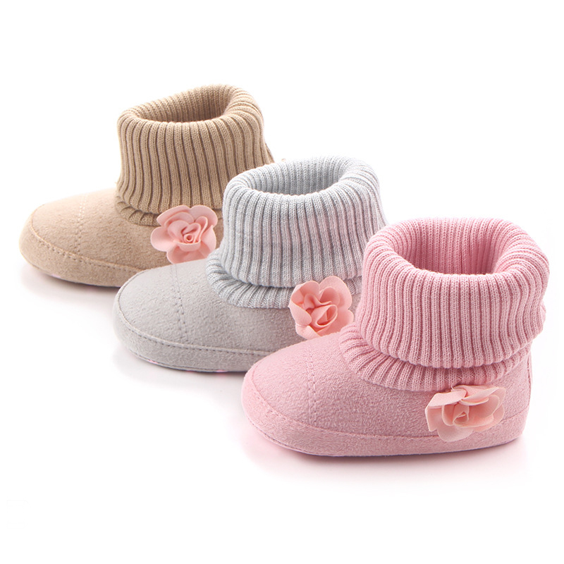 Winter Warm Non-slip Baby Girl BoyShoes Bebe Flock Ankle Snow Boots Adjustable First Walker Infant Crochet Knitting Fleece Shoes