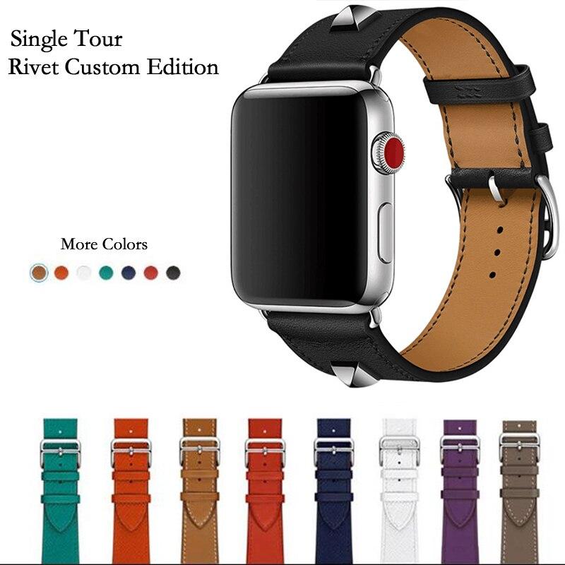Neueste Echtem Leder Niet Benutzerdefinierte Ausgabe Einzigen Tour Uhr band Strap Für herm Apple Uhr Serie 4 1 2 3 iWatch 38 42mm