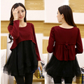 Maternity clothing autumn and winter organza patchwork knitted faux two piece materleevenity clothes for pregnant women
