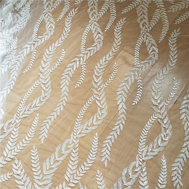 1 Yard Clear Sequin Mesh Floral Embroidery Lace Fabric with Leaf Pattern Design for Bridal Gown Wedding Dress in Fabric from Home Garden