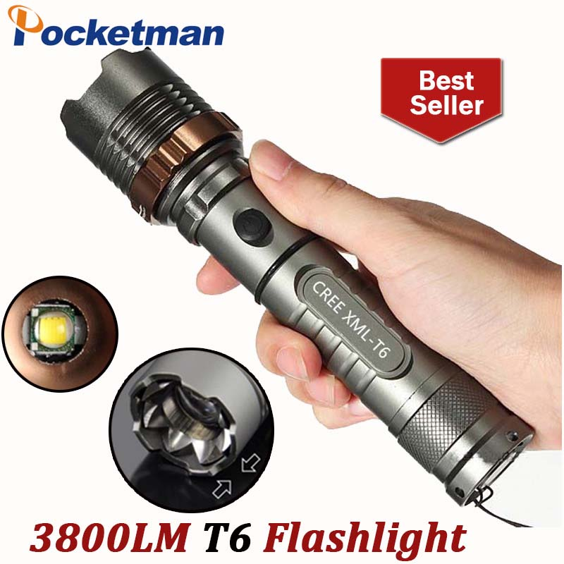 3800lm XM-L T6 5 modes <font><b>LED</b></font> Tactical Flashlight Torch Waterproof Hunting Flash Light Lantern zaklamp taschenlampe <font><b>torcia</b></font>