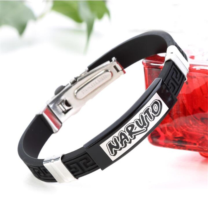 Hot New Japan Anime Naruto Bracelet Cosplay Badge Accessories Fashion Uzumaki Naruto Sasuke Fans Gift Christmas Black Silica Gel