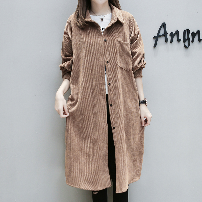 094ebd3f04f New Plus Size 2017 Women Trench Coat Loose Fat Younger Sister Corduroy  Coats Brown Black 8268-in Trench from Women s Clothing on Aliexpress.com