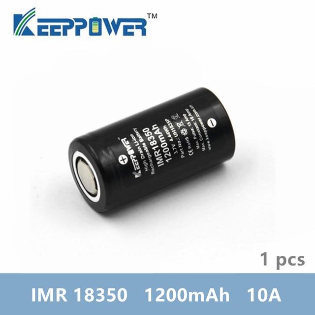 1 Pcs Keeppower IMR 18350 IMR18350 1200mAh 10A discharge UH1835P Li ion rechargeable battery High Drain Original
