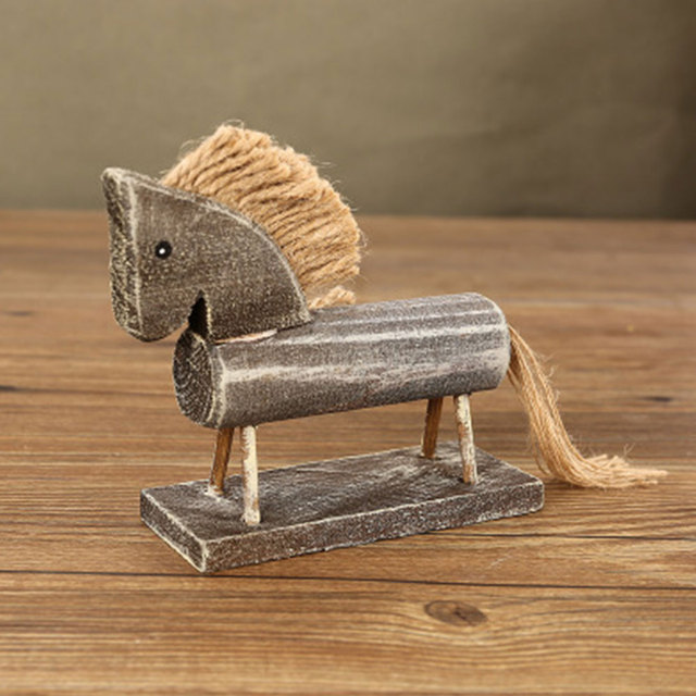Wooden Crafts Natural Wood Color Horse Design Figurines Table Desk