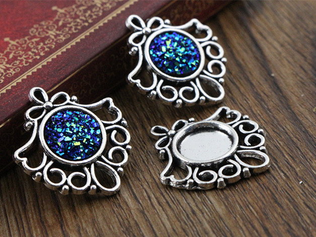 12pcs 12mm Inner Size Antique Silver Fashion Style Cabochon Base Cameo Setting Charms Pendant (A2-35)