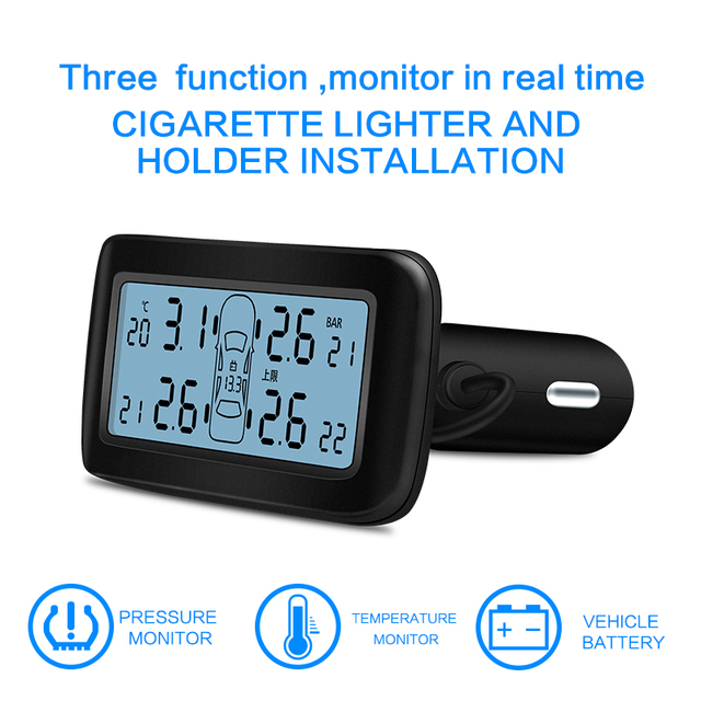 CAREUD D30 TPMS Car electronics Wireless Tire Pressure Monitoring System with External Replaceable Battery Sensors LCD Display