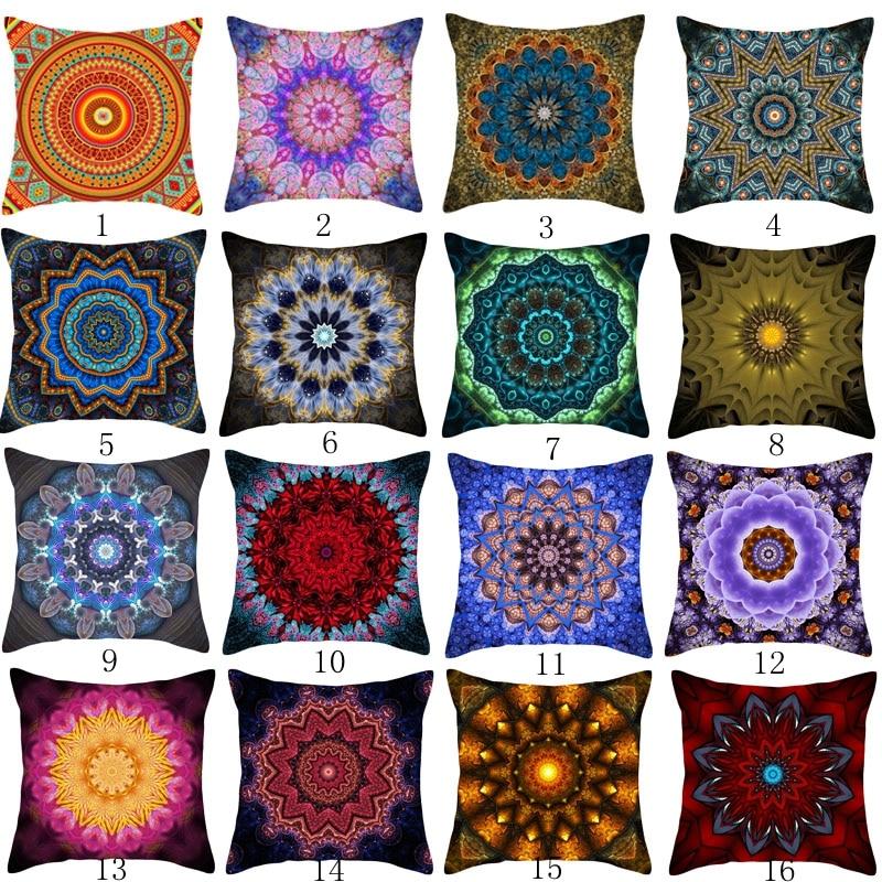 Nordic Christmas Pillow Case sofa Cushion Cover Fashion Geometry Retro Polyester Bohemia Colorful Flowers Home Decor 18x18