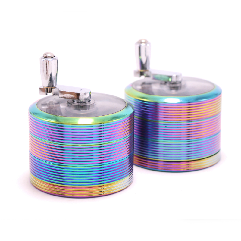 New large 63mm ice blue manual rocker stripe grinder, tobacco wire weed grinder, creativ ...