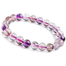 9mm Genuine Natural Purple Rutilated Quartz Crystal Bracelets For Women Super Seven Melody Stone Stretch Round Bead Bracelet
