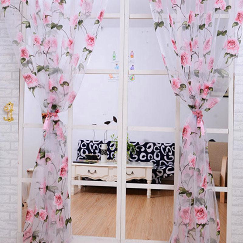 cortina dormitorio sala de estar ventana panel moderno estampado de flores de tul cortinas