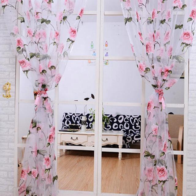 Curtain Living Room Bedroom Window Translucidus Panel Modern Floral Pattern Tulle Sheer Curtains Draperies 1