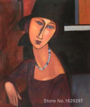 Modern painting on canvas Jeanne Hebuterne with Hat and Necklace aRT Amedeo Modigliani High quality Hand painted image
