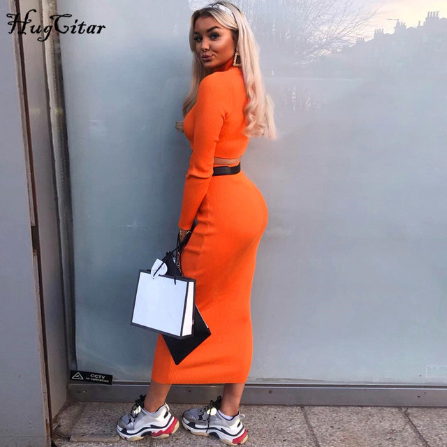 Hugcitar high neck long sleeve crop tops skirt 2 two pieces set 2019 autumn winter women fashion streetwear solid tracksuits 4