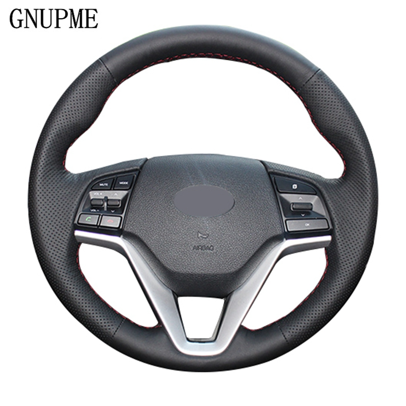 GNUPME DIY Steering Cover Hand-stitched Soft Artificial Leather Black Car Steering Wheel Cover for Hyundai Tucson 2015 2016
