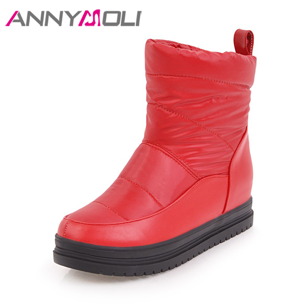 ANNYMOLI Snow Boots Winter Women Ankle Boots Fur Increase Heels Platform Wedges Pleated Waterproof Boots Female Shoes White Red zorssar 2017 new classic winter plush women boots suede ankle snow boots female warm fur women shoes wedges platform boots